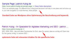 Optimiertes Google Snippet von patrick-hubig.de